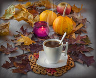 Cup of coffee on Halloween Stock Photography