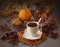 Cup of coffee on Halloween Royalty Free Stock Photography