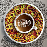 Cup of coffee and hand drawn curls nature doodles Royalty Free Stock Image
