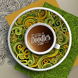 Cup of coffee and hand drawn curls nature doodles Royalty Free Stock Photography