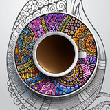 Cup of coffee and hand drawn floral ornament Royalty Free Stock Photography