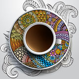Cup of coffee and hand drawn floral ornament Stock Image