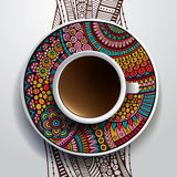 Cup of coffee and hand drawn floral ornament Stock Images