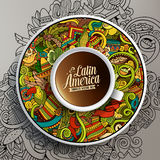 Cup of coffee and hand drawn Latin American theme Royalty Free Stock Photography