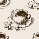 Cup of coffee hand drawn seamless pattern vector Royalty Free Stock Image