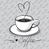 Cup of coffee. Hand drawn vector illustration - i love coffee Royalty Free Stock Photos