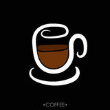 The cup of coffee, hand drawn. Vector cup of coffee, hand drawn, simple concept Royalty Free Stock Images