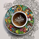 Cup of coffee and hand drawn watercolor summer Royalty Free Stock Photo