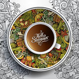 Cup of coffee and hand drawn watercolor summer Royalty Free Stock Photos
