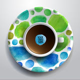 Cup of coffee and hand drawn watercolor on a. Vector illustration with a Cup of coffee and hand drawn watercolor on a saucer Royalty Free Stock Image
