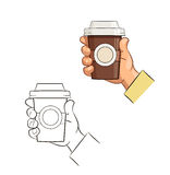 Cup of coffee in hand Stock Image