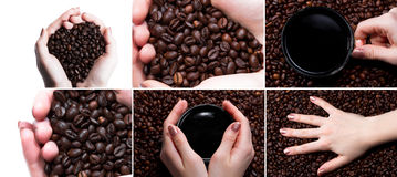 Cup with coffee and hand over coffee beans background. Royalty Free Stock Photography