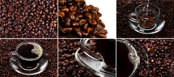 Cup with coffee and hand over coffee beans background. Stock Photo