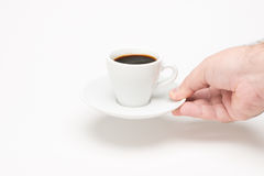 Cup of coffee with hand Royalty Free Stock Photos
