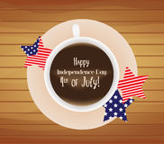 Cup of coffee with Happy 4th of July Royalty Free Stock Image