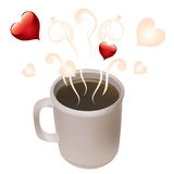 A cup of coffee and heart. Royalty Free Stock Photos