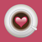 Cup of coffee with heart. On red background Stock Images