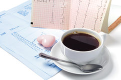 Cup of coffee and heart Stock Image