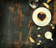 Cup of coffee with heart on foam Royalty Free Stock Photo