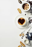 Cup of coffee with heart on foam Stock Photo