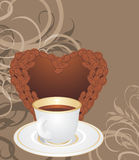 Cup and coffee heart on the ornamental background Stock Photos
