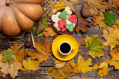 Cup of coffee and heart shape cookies Royalty Free Stock Images