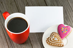 Cup of coffee and heart shape cookies Royalty Free Stock Photos