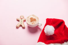 Cup of coffee with heart shape and gingerbread Royalty Free Stock Image