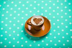Cup of coffee with heart shape Stock Photography