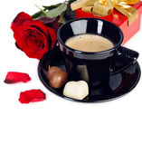 Cup of coffee with heart shaped chocolates, valentines day Stock Photos