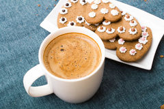 Cup of coffee and heart shaped cookies Royalty Free Stock Photography