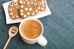 Cup of coffee and heart shaped cookies Stock Photos