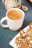 Cup of coffee and heart shaped cookies Stock Image