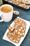 Cup of coffee and heart shaped cookies Stock Images