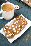 Cup of coffee and heart shaped cookies Stock Photo