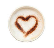 Cup of coffee with heart shaped make from cocoa powder isolate o royalty free stock photo