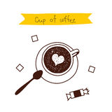A cup of coffee with a heart, a sweet, spoon and sugar cubes. Vector illustration on white background Royalty Free Stock Image