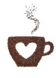A cup of coffee with a heart symbol. Cup coffee made from coffee beans with a heart symbol isolated on white royalty free stock image