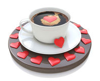 Cup of coffee with heart symbol - Valentine's day. Love concept Royalty Free Stock Photography