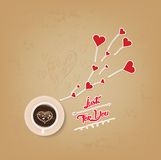 Cup of coffee with heart valentines day greeting card Stock Photo