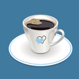 Cup of coffee with heart Stock Photos