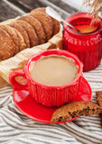 Cup of coffee and homemade cookies Stock Images