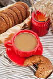 Cup of coffee and homemade cookies Royalty Free Stock Images