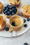 Cup of coffee and Homemade muffins Stock Photos