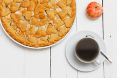 Cup of coffee and homemade pie with apples and pears Stock Images