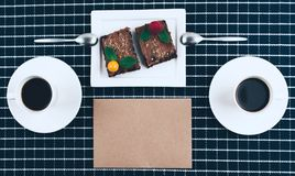 Coffee with homemade vegan brownies. Royalty Free Stock Photos