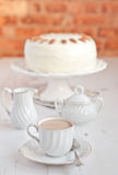 Cup of coffee with hummingbird cake Royalty Free Stock Photos