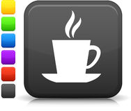 Cup of coffee icon on square button Stock Photography