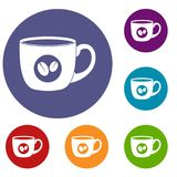 Cup of coffee icons set Stock Images