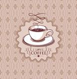Cup of coffee  illustration. Illustration of cup of coffee in hand drawn style on seamless pattern background Royalty Free Stock Photo